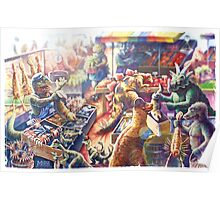 Prehistoric Pastimes Dinosaur Market Place  Poster