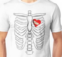 Rib cage Sketch with a fixed Broken Heart Unisex T-Shirt