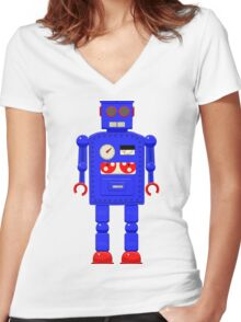 Retro vintage toy robot  Women's Fitted V-Neck T-Shirt