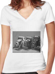Vintage cameras photography design Women's Fitted V-Neck T-Shirt