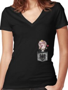 Prussia Pocket Chibi Women's Fitted V-Neck T-Shirt