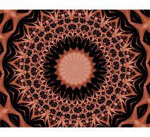 Orange and Black Abstract Mandala Photographic Print
