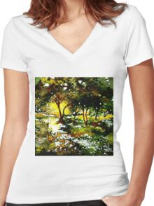 Morning Light Women's Fitted V-Neck T-Shirt
