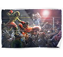 Battle of the Ages Dinosaur Fight Card Poster