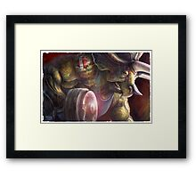 Pumping Iron Dinosaur Weight Lifting Framed Print