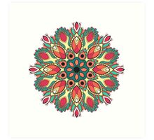 Folk round decorative ornament Art Print