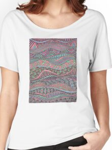 Wavy Greens and Pinks Women's Relaxed Fit T-Shirt