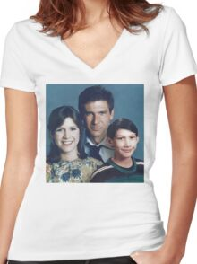 Solo Organa Skywalker family portrait Women's Fitted V-Neck T-Shirt