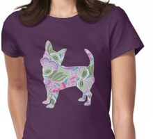 Chihuahua in Colorful Floral Garden Pattern Womens Fitted T-Shirt
