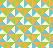 Orange Lime Blue Cream Retro Geometric Triangle Pattern by dreamingmind