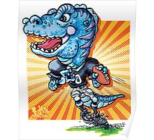 Youthful T-Rex Football Player Poster