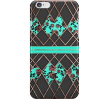 Modern Elegant Rose Gold Triangles and Teal Roses iPhone Case/Skin