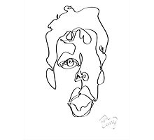 Tim Curry Semi-Blind Contour Drawing Photographic Print