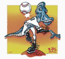 Pedrodon Dinosaur Baseball Player Kids Tee