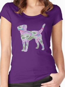 Labrador Retriever in Colorful Floral Garden Pattern Women's Fitted Scoop T-Shirt