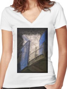 The Blue Balcony Women's Fitted V-Neck T-Shirt