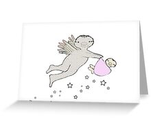 'It's a girl' playful new baby sloth gift Greeting Card
