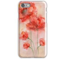 watercolor poppy iPhone Case/Skin