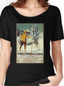 Early 1920s winter sports Italy travel advert Alps Women's Relaxed Fit T-Shirt