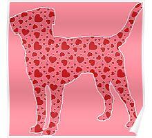 Labrador Retriever, Valentine Hearts Pattern Poster