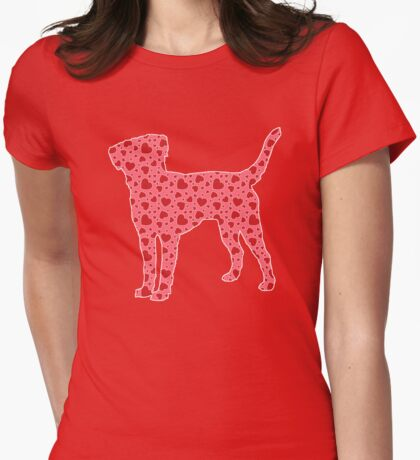 Labrador Retriever, Valentine Hearts Pattern Womens Fitted T-Shirt