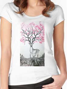 Cherry Blossom Deer Women's Fitted Scoop T-Shirt