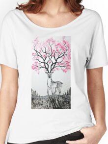 Cherry Blossom Deer Women's Relaxed Fit T-Shirt
