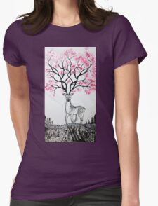 Cherry Blossom Deer Womens Fitted T-Shirt