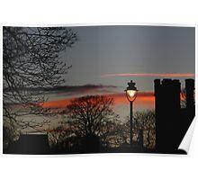 Streetlight At Sunset Poster
