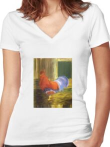 Red Rooster 2 Women's Fitted V-Neck T-Shirt
