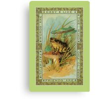 Friendship theme verse, Victorian frog (toad), toadstools  Canvas Print