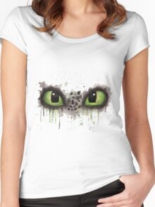 Toothless' eyes in watercolour Women's Fitted Scoop T-Shirt