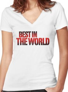 Best in the world Women's Fitted V-Neck T-Shirt
