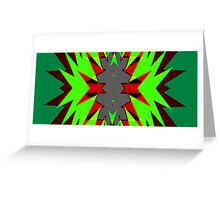 Hardcore Neon Green Star Burst NeoGeo Art Greeting Card