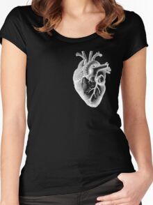 Anatomical Heart - White Outline Women's Fitted Scoop T-Shirt