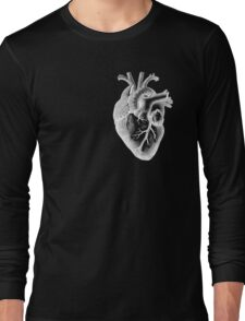 Anatomical Heart - White Outline Long Sleeve T-Shirt