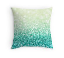 Green Glitter Bokeh Throw Pillow