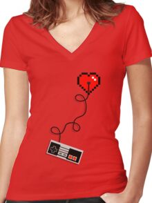Retro at Heart  Women's Fitted V-Neck T-Shirt