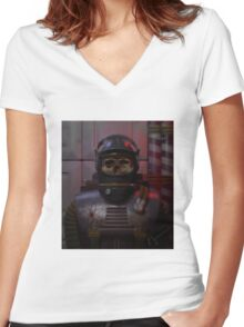 The atom astronaut (alternative) Women's Fitted V-Neck T-Shirt