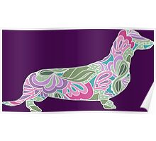 Dachshund with Colorful Floral Garden Pattern  Poster