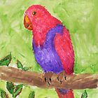 Red and Purple Tropical Parrot by Express Yourself Artshop