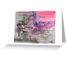 Hot Pink Purple and Black Dripping Abstract Greeting Card