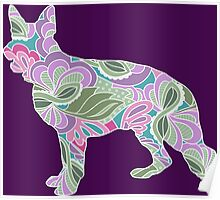 German Shepherd Colorful Floral Garden Pattern Poster