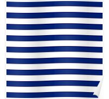 Nautical Navy Blue Horizontal Stripes Poster