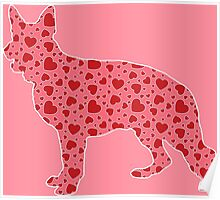 German Shepherd Valentine's Heart Pattern Poster