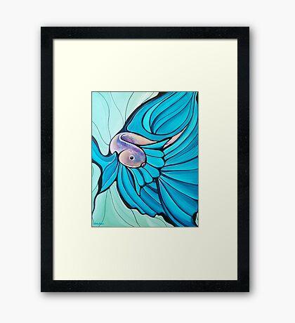 Blue Betta Fish, Illustrated Painting Framed Print