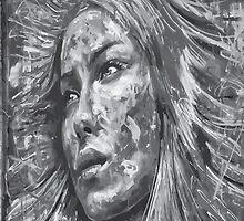 Beautiful Women Eyes Black White Grey by sadpanda519
