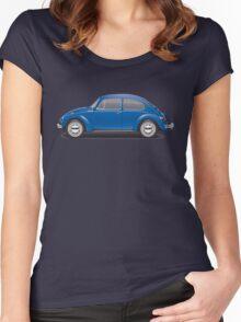 1973 Volkswagen Super Beetle - Biscay Blue Women's Fitted Scoop T-Shirt