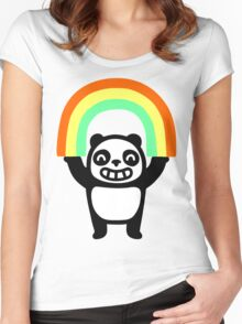 Panda Found A Rainbow Women's Fitted Scoop T-Shirt