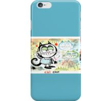 Cartoon cat chatting on mobile phone illustration iPhone Case/Skin